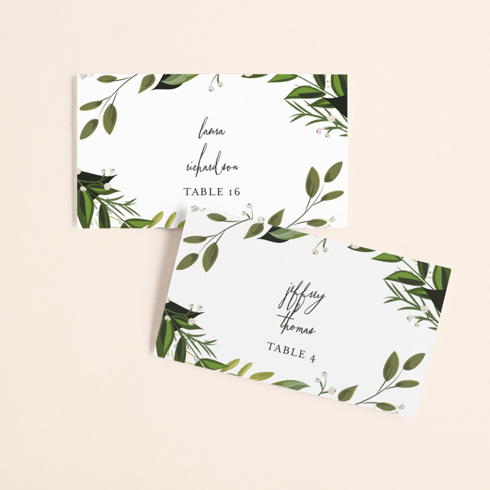 """""""Vines of Green"""" - Wedding Place Cards in Fern by Susan Moyal."""