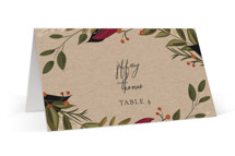 This is a brown wedding place card by Susan Moyal called Vines of Green with standard printing on signature in placecard.