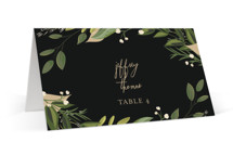 This is a black wedding place card by Susan Moyal called Vines of Green with standard printing on signature in placecard.