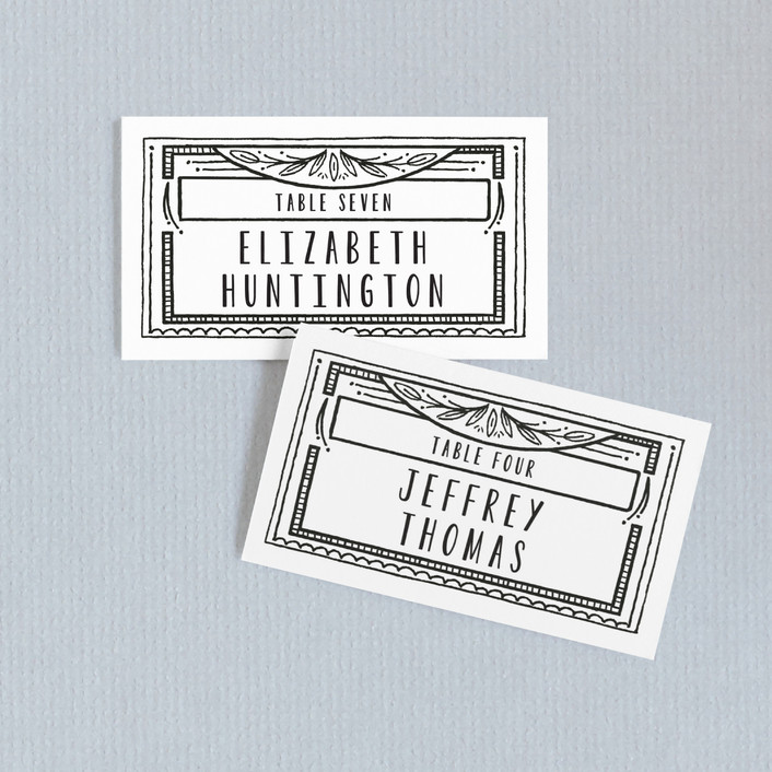 """""""Ink Detailing Frame"""" - Vintage Wedding Place Cards in Ink by Shiny Penny Studio."""