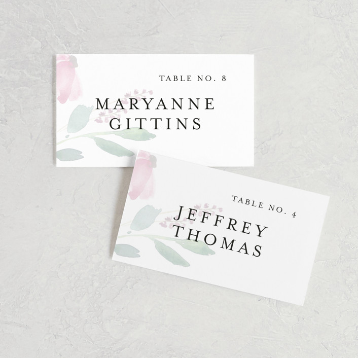 """Spring Wildflowers"" - Wedding Place Cards in Pink Floral by Mere Paper."