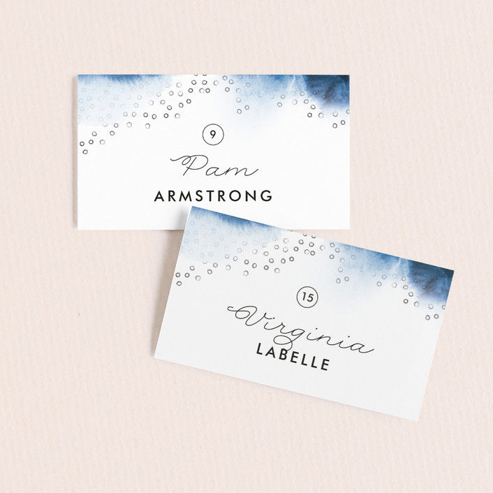 """Watercolor Dots"" - Wedding Place Cards in Agate by Maria Hilas Louie."