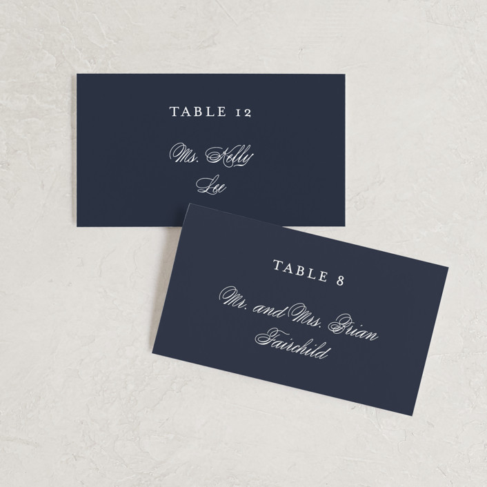"""""""Flawless"""" - Wedding Place Cards in Midnight by Kimberly FitzSimons."""