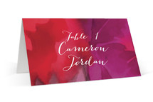 This is a purple wedding place card by kelli hall called Centifolia Rose with standard printing on signature in placecard.
