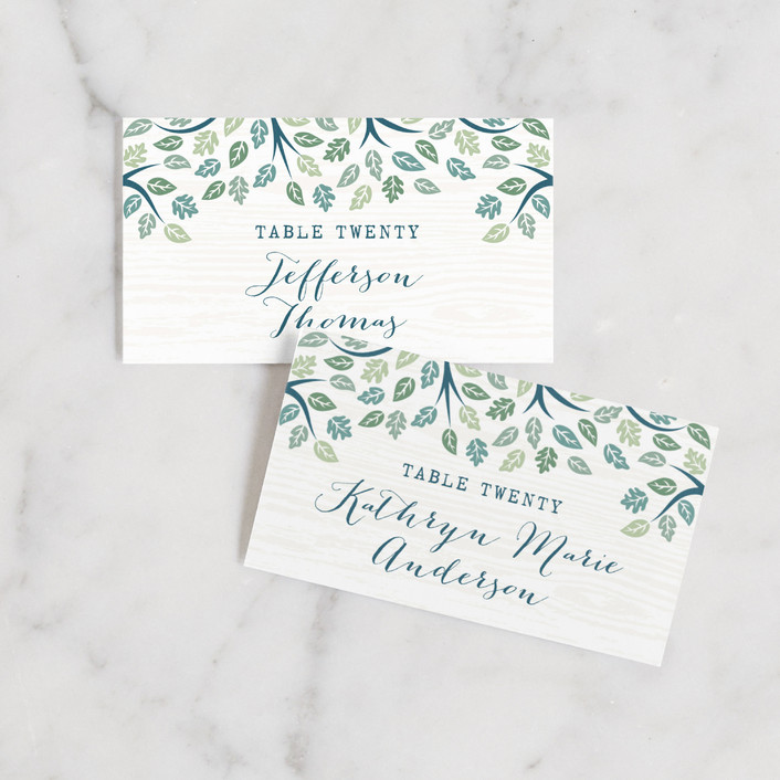 """""""Under the Tree"""" - Rustic, Bohemian Wedding Place Cards in Leaf Green by Paper Sun Studio."""