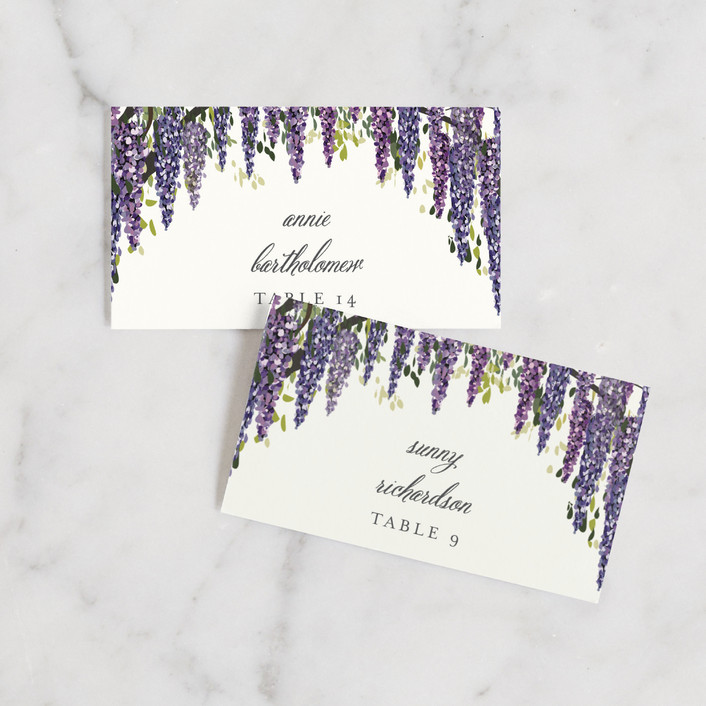 """Wisteria Blooms"" - Wedding Place Cards in Grape by Susan Moyal."
