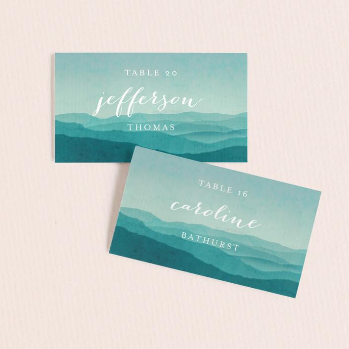 """""""Misty Mountain Range"""" - Wedding Place Cards in Sky by Kelly Schmidt."""