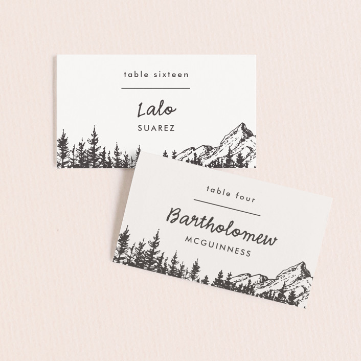 """Mountains"" - Wedding Place Cards in Ivory by Anastasia Makarova."