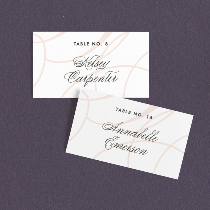"""""""Twirl Monogram B"""" - Modern Wedding Place Cards in Blush by Ariel Rutland."""