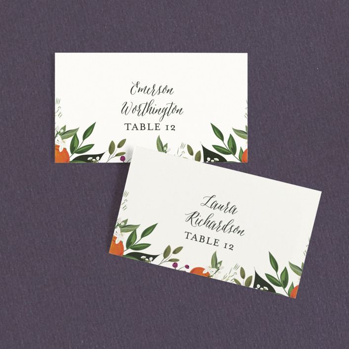 """Orange Blossoms"" - Wedding Place Cards in Pearl by Susan Moyal."