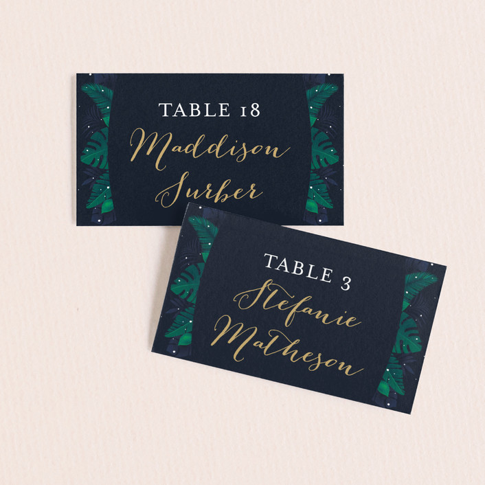 """Paradise"" - Wedding Place Cards in Midnight Ocean by GeekInk Design."