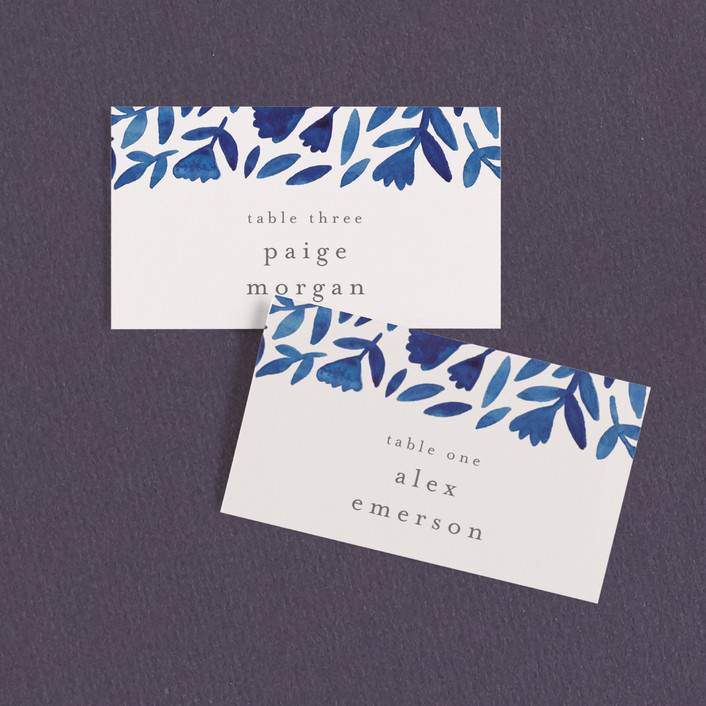"""""""Wildflower Floral"""" - Wedding Place Cards in Navy by Katharine Watson."""