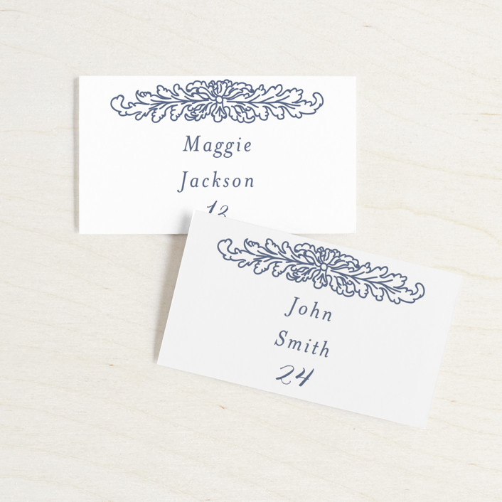 """Ornate"" - Vintage Wedding Place Cards in Indigo by Nazia Hyder."