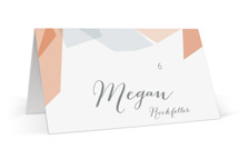 This is a pink wedding place card by Lori Wemple called Gemstones with standard printing on signature in placecard.