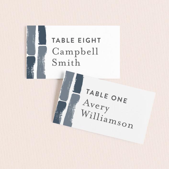 """Modern Brush"" - Modern Wedding Place Cards in Steel Blue by Lisa Guerrero."