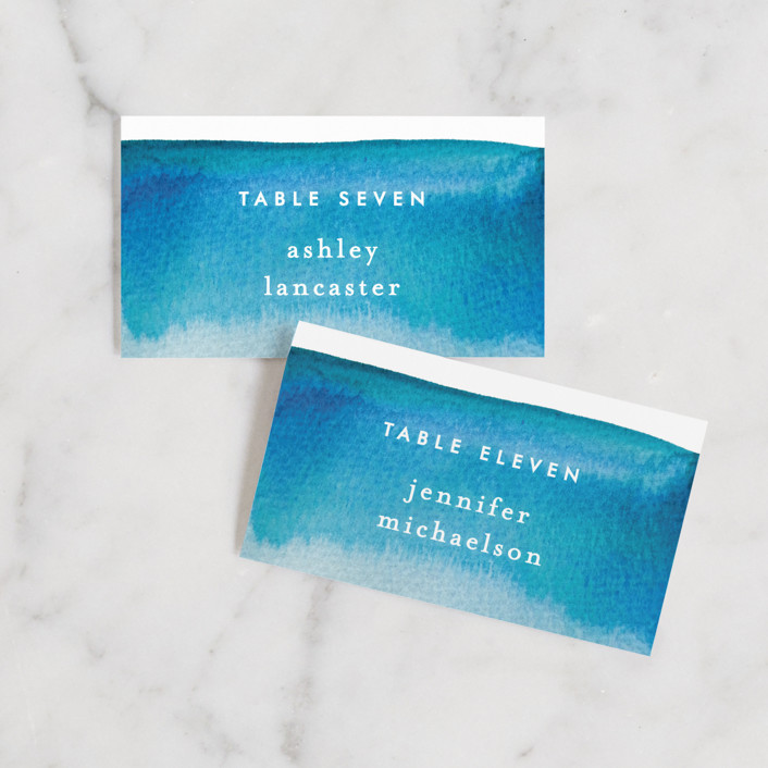 """""""Tide Pools"""" - Modern Wedding Place Cards in Sea by Krissy Bengtson."""