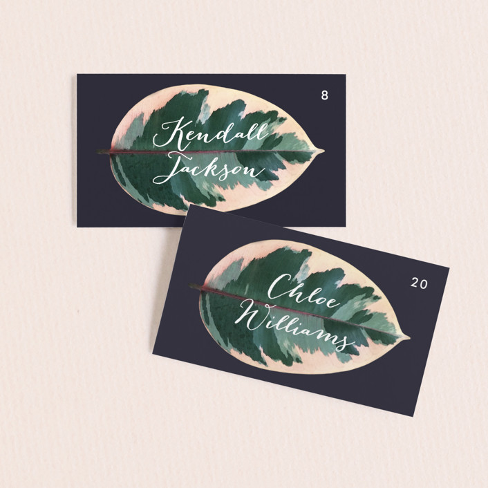 """""""Painterly Plant"""" - Wedding Place Cards in Midnight by Hooray Creative."""