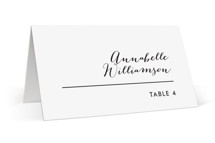 This is a black and white wedding place card by Drango Design called Slanted with standard printing on signature in placecard.