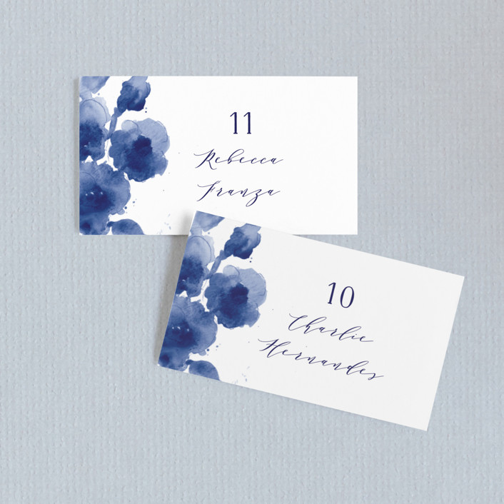 """""""Cornflower Wedding"""" - Wedding Place Cards in Periwinkle by Chris Griffith."""
