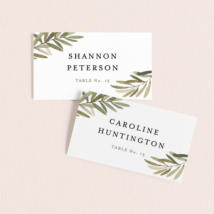 """Olive Branch"" - Wedding Place Cards in Olive by Wildfield Paper Co."