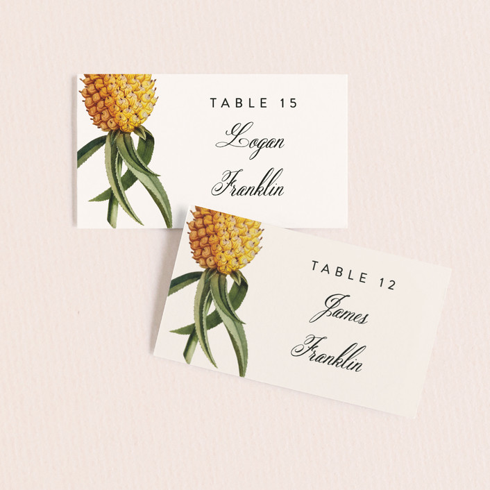 """""""Party in Paradise"""" - Wedding Place Cards in Pineapple by Fig and Cotton."""