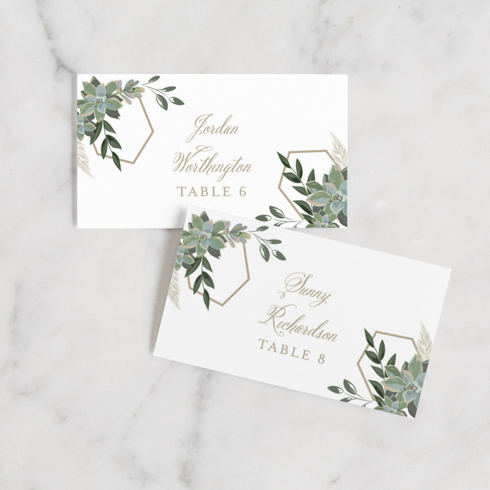 """""""Succulent Surround"""" - Wedding Place Cards in Cloud by Susan Moyal."""