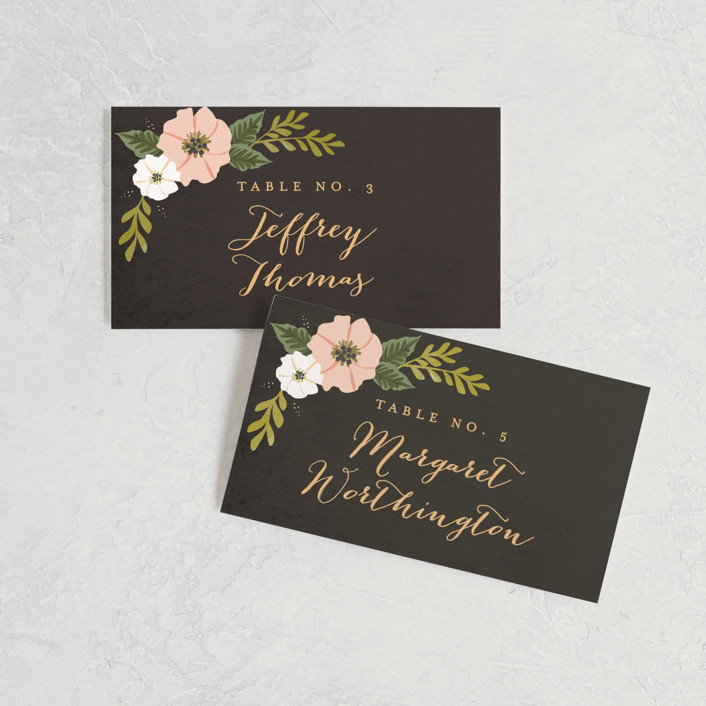 """Floral Ring"" - Wedding Place Cards in Charcoal by Karidy Walker."