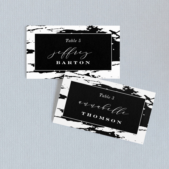 """""""Perspective"""" - Wedding Place Cards in Noir by Kimberly FitzSimons."""