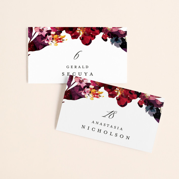 """""""Tidal Blooms"""" - Wedding Place Cards in Holly by Grace Kreinbrink."""