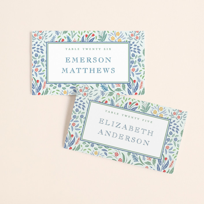 """Woodland Garden"" - Wedding Place Cards in Daybreak by Paper Sun Studio."