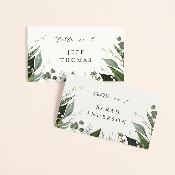 """Natures Greens"" - Wedding Place Cards in Ivory by Susan Moyal."