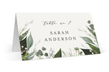This is a white wedding place card by Susan Moyal called Natures Greens with standard printing on signature in placecard.