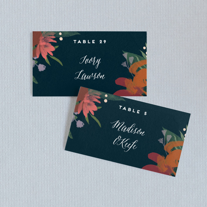 """Midnight Garden"" - Wedding Place Cards in Deep Sea by Jennifer Wick."