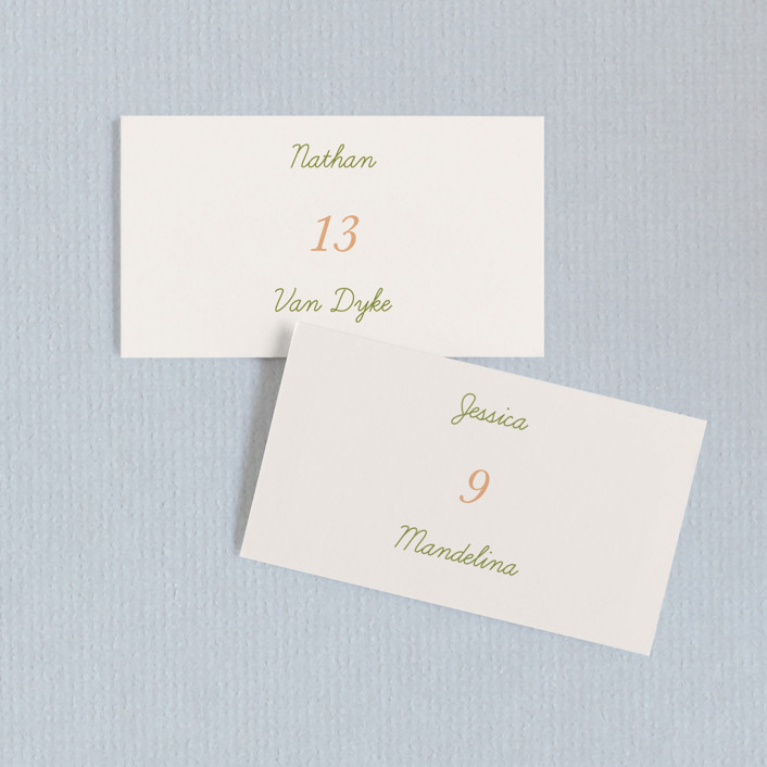 """Watercolor Leaf"" - Wedding Place Cards in Porcelain by Johanna McShan."