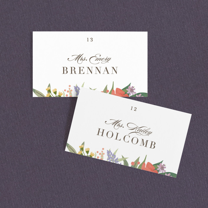 """""""Floral specimen"""" - Wedding Place Cards in Persimmon by Jennifer Wick."""