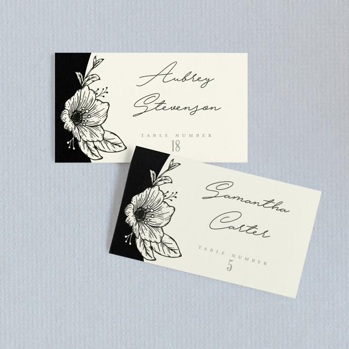 """Apeiron"" - Wedding Place Cards in Ebony by GeekInk Design."
