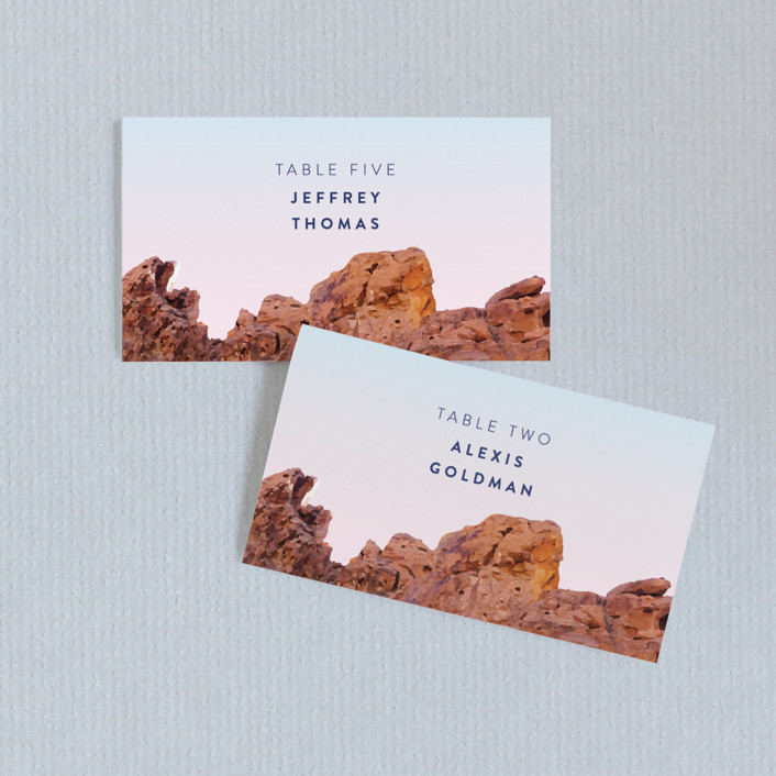 """""""Desert Rocks"""" - Wedding Place Cards in Sunset by Owl and Toad."""