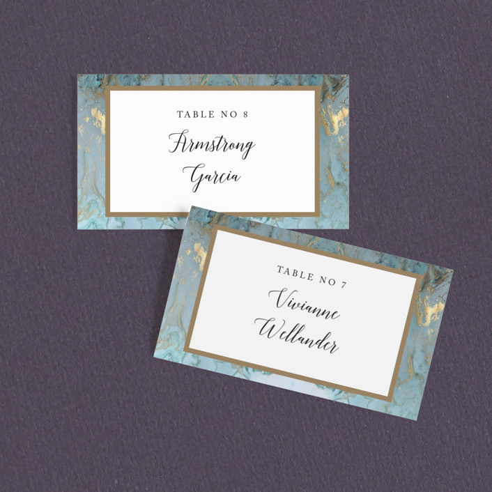 """Something Blue"" - Wedding Place Cards in Aqua by Benita Crandall."
