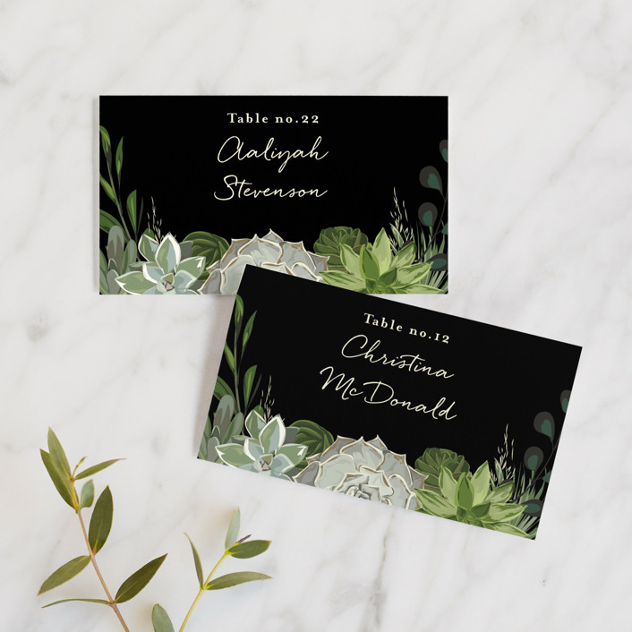 """""""Agave & Greens"""" - Wedding Place Cards in Midnight by Susan Moyal."""