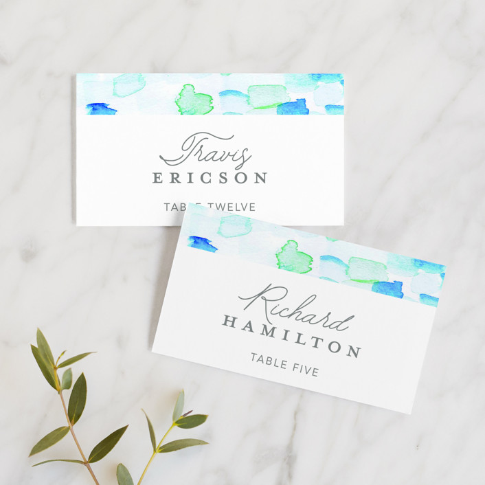 """""""Sea Glass"""" - Wedding Place Cards in Ocean by Hudson Meet Rose."""