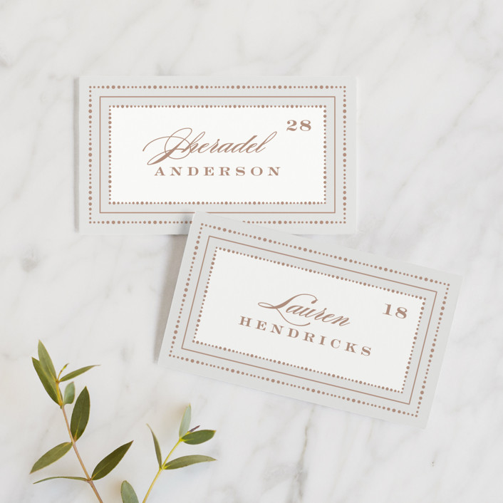 """""""Simply Grand"""" - Wedding Place Cards in Dove by Hooray Creative."""