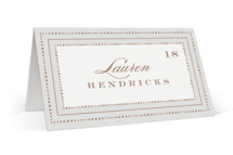This is a brown wedding place card by Hooray Creative called Simply Grand with standard printing on signature in placecard.