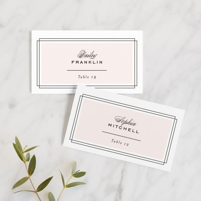 """Simply Framed"" - Wedding Place Cards in Blush by Maddy Hague."