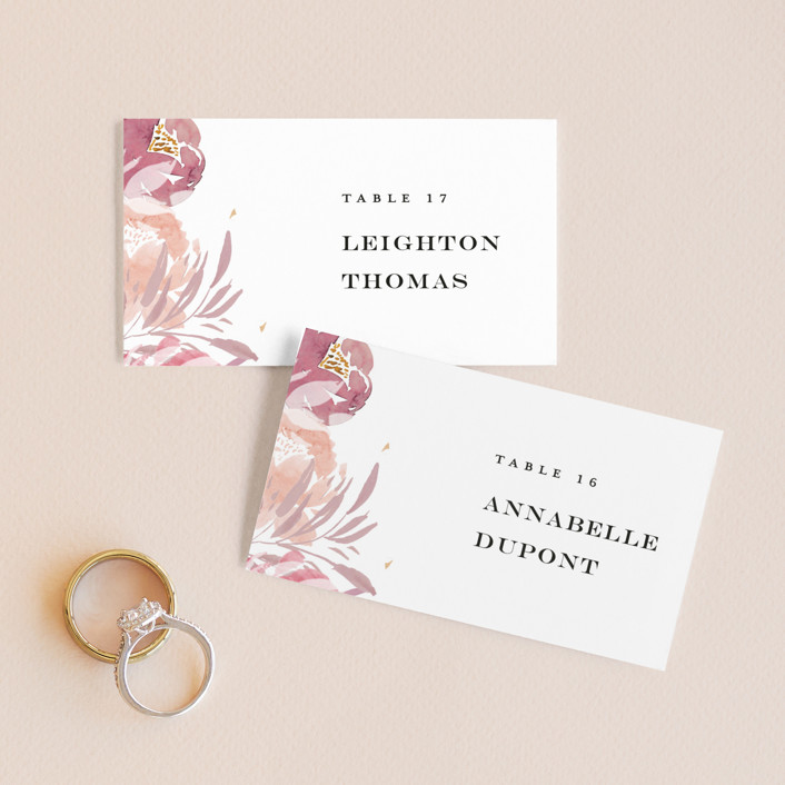 """Grand Bloom"" - Wedding Place Cards in Mauve by Bonjour Paper."