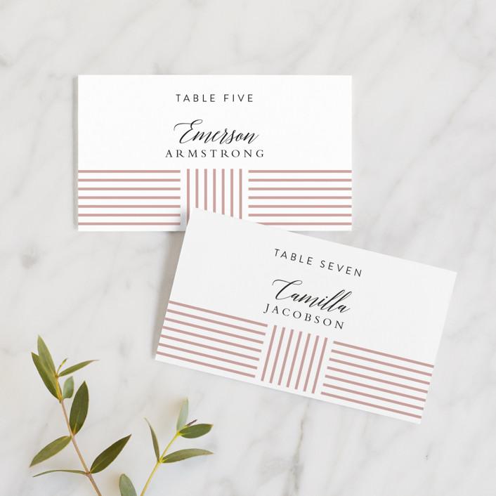 """Tara"" - Modern Wedding Place Cards in Blush by Kampai Designs."