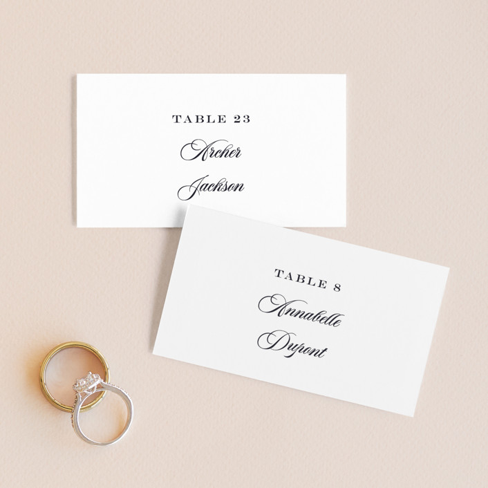 """""""Nouvelle Ere"""" - Vintage Wedding Place Cards in Midnight by Bonjour Paper."""
