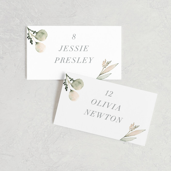 """""""Romantic Eucalyptus"""" - Wedding Place Cards in Sage by Petra Kern."""