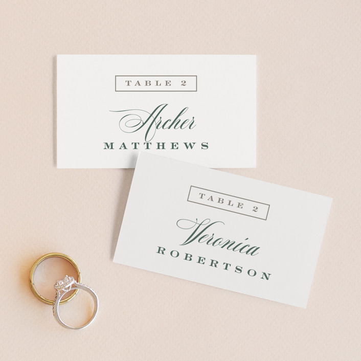 """""""Roman Shade"""" - Wedding Place Cards in Evergreen by Carrie ONeal."""