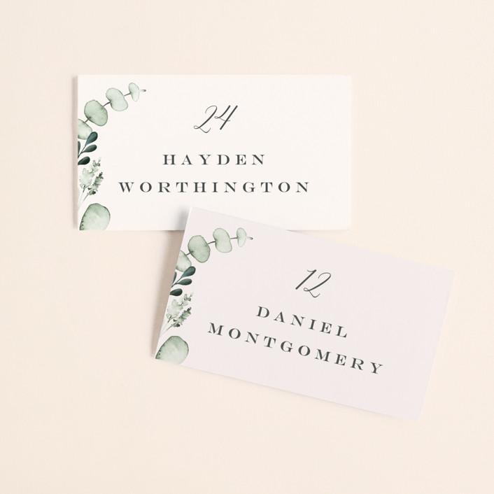 """Gentle Greens"" - Wedding Place Cards in Fern by Petra Kern."