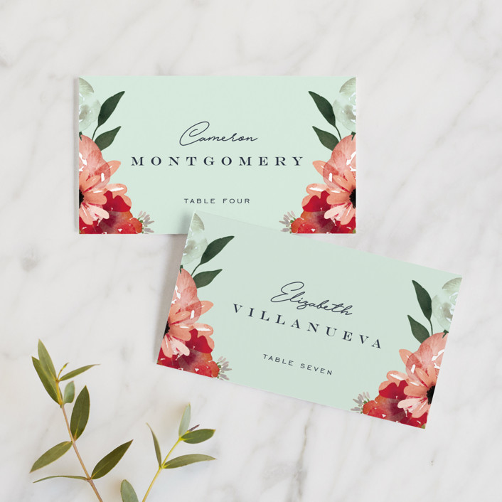 """""""Cascading Florals"""" - Wedding Place Cards in Rouge by Leah Bisch."""